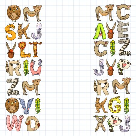 Animal alphabet. Zoo alphabet. Letters from A to Z. Cartoon cute animals. Elephant, dog, flamingo, giraffe, horse, alligator, bear, cat. Stockfoto - 130837142