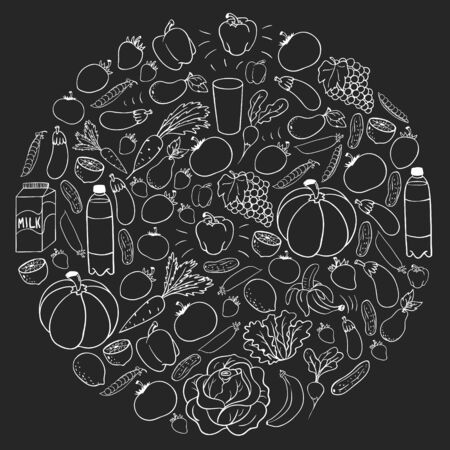 Vector pattern with healthy food. Fruits and vegetables. Milk, dairy products. Pattern for store, mall, menu, cafe, restaurants.