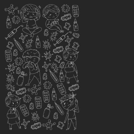 Vector pattern with little children. Illustration of Child diseases, flu, illness Banque d'images - 130837285