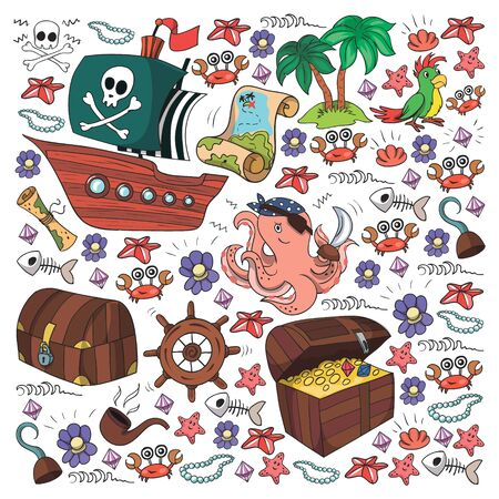 Vector set with pirate elements for birthday Stock Illustratie
