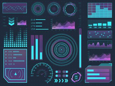 HUD elements sci-fi science futuristic user interface. Menu buttons, virtual reality, infographic vector illustration. Vektorové ilustrace