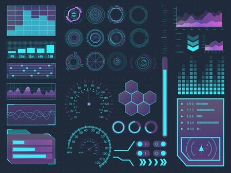 Menu buttons, virtual reality, infographic vector illustration. HUD elements sci-fi science futuristic user interface.
