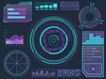 Interfaz de usuario futurista de ciencia de ciencia ficción de elementos de HUD. Botones de menú, realidad virtual, ilustración vectorial de infografía.