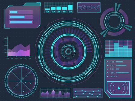 HUD elements sci-fi science futuristic user interface. Menu buttons, virtual reality, infographic vector illustration. Illustration