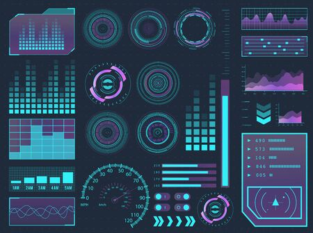 HUD elements sci-fi science futuristic user interface. Menu buttons, virtual reality, infographic vector illustration. Stock Illustratie