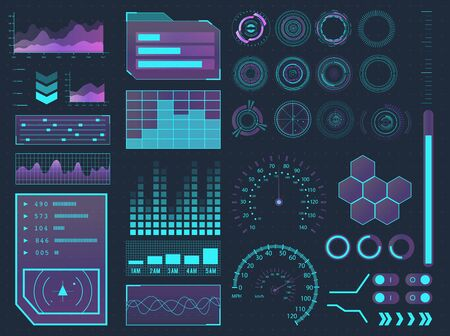 HUD elements sci-fi science futuristic user interface. Menu buttons, virtual reality, infographic vector illustration. Stock fotó - 131796256