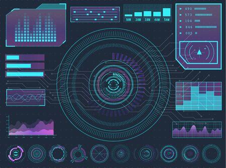 HUD elements sci-fi science futuristic user interface. Menu buttons, virtual reality, infographic vector illustration. Archivio Fotografico - 131797535