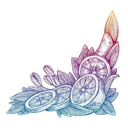 Wedding invitation template, egology concept, vegan food, cafe, restaurant, illustration for orange juice package
