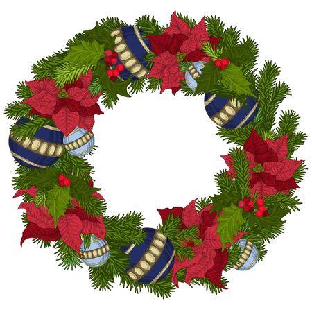 Frohe Weihnachten und ein glückliches Neues Jahr. Weihnachtsdekoration. Kranz mit Schleife, Glocken, Kugeln.