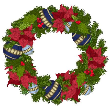 Merry Christmas and Happy new year. Christmas decoration. Wreath with bow, bells, balls.