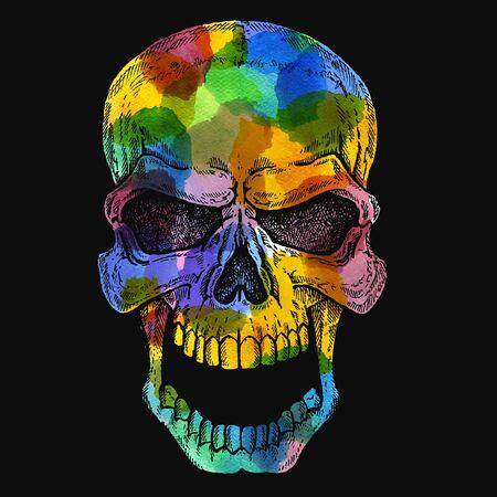 Conceptual human skull colorful illustration with watercolor spots. Halloween, tee shirt print.