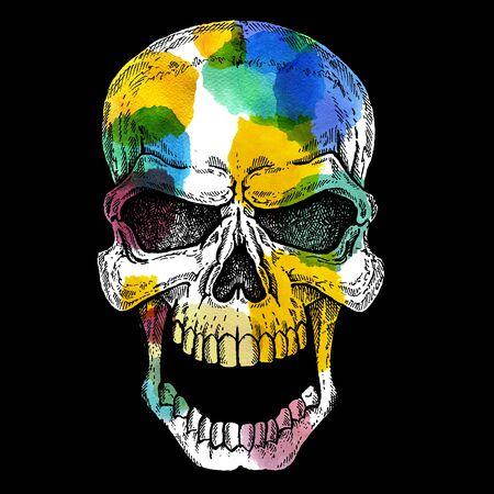 Conceptual human skull colorful illustration with watercolor spots. Halloween, tee shirt print. Фото со стока - 132114736