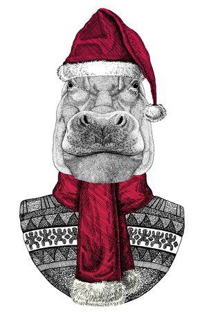 Portrait of Hippopotamus wearing Chrismtas Santa Claus hat Foto de archivo - 132114747
