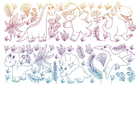 Pattern kids fabric, textile, nursery wallpaper. Vector illustration. Hand drawn dinosaurs, dino for little children.