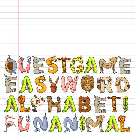 Animal alphabet. Zoo alphabet. Letters from A to Z. Cartoon cute animals. Elephant, dog, flamingo, giraffe, horse, alligator, bear, cat. Stockfoto - 132114575
