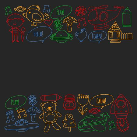 Vector pattern with little children. Kindergarten, play and grow together. Icons of toys and kids in doodle style