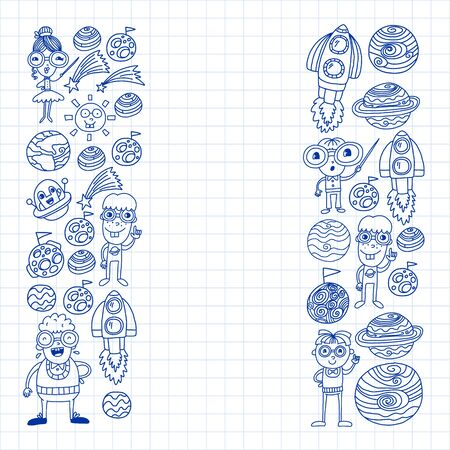 Space doodle pattern with teacher and students. School, children. Science education, learning