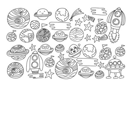 Space doodle pattern with teacher and students in doodle style. School, children. Science education, learning.