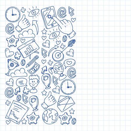 Digital marketing, social media, communications, management. Background for banners. Illustration
