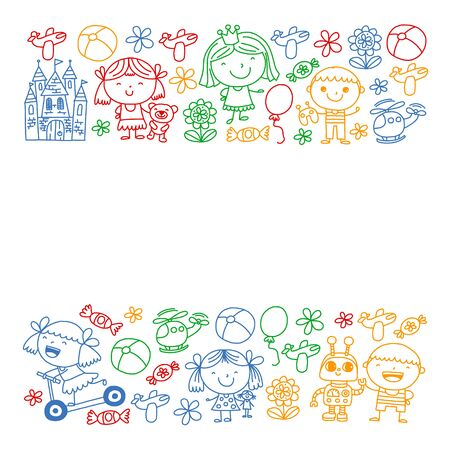 Cute little children play. Kindergarten, education, sport. Icons of kids and toys for patterns, banners, posters.