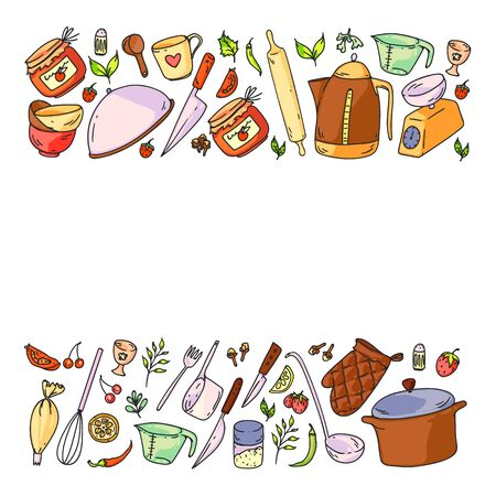 Pattern with food and kitchen utencil. Cooking class, menu for restaurant, banners for stores