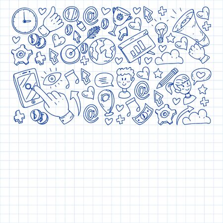 Digital marketing, social media communications management Stock Illustratie