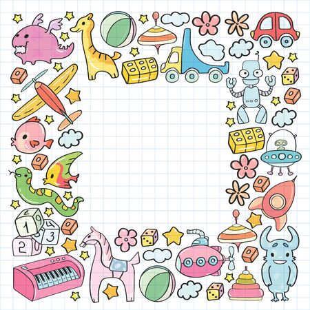 Kindergarten elements in doodle style for little kids. Education, play, grow. Vector pattern with children toys.