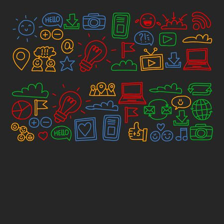 social media and network icons Фото со стока - 131354823