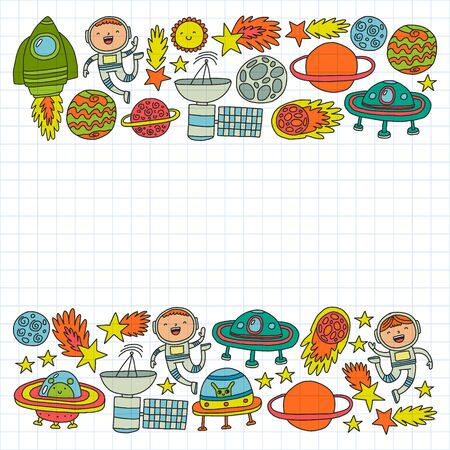 Space background doodle illustration. Vector illustration. Pattern with cartoon space rockets, planets, stars. Illustration