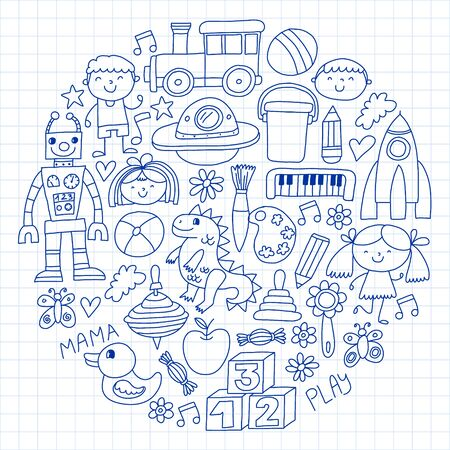 Kindergarten preschool school children. Kids drawing style vector pattern. Play grow learn together. Foto de archivo - 132114190