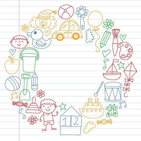 Kindergarten preschool school children. Kids drawing style vector pattern. Play grow learn together. Foto de archivo - 132114191