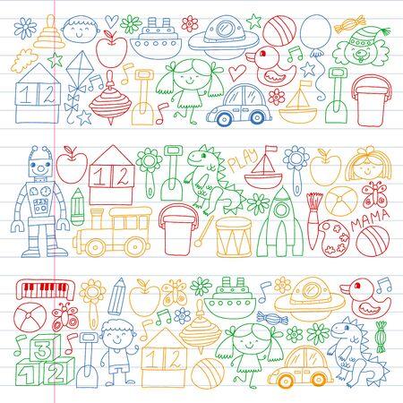 Kindergarten preschool school children. Kids drawing style vector pattern. Play grow learn together. Foto de archivo - 132114201