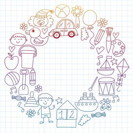 Kindergarten preschool school children. Kids drawing style vector pattern. Play grow learn together. Stock Vector - 132114111