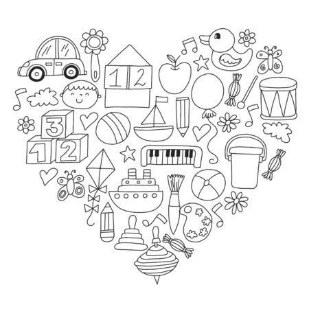 Kindergarten preschool school children. Kids drawing style vector pattern. Play grow learn together. Stock Vector - 132114116