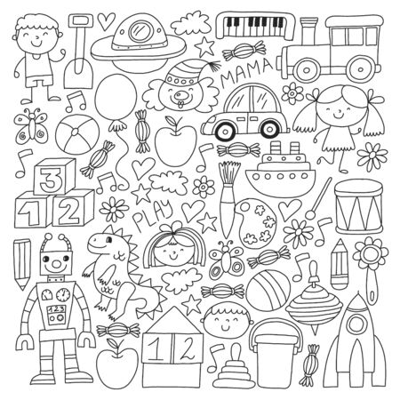 Kindergarten preschool school children. Kids drawing style vector pattern. Play grow learn together. Stock Vector - 132114121