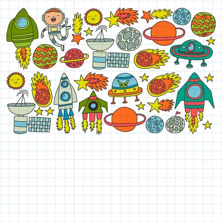Vector illustration. Pattern with cartoon space rockets, planets, stars. Space background doodle illustration.