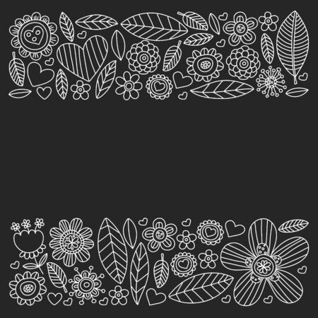 Vector pattern with doodle flowers and leaves 向量圖像