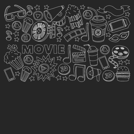 Cinema vector icons. Background with popcorn, movie illustration, musical notes. Banco de Imagens - 132113390
