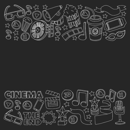 Cinema vector icons. Background with popcorn, movie illustration, musical notes.