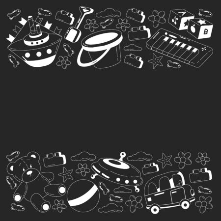 Kindergarten vector pattern with toys. Children play and grow together.