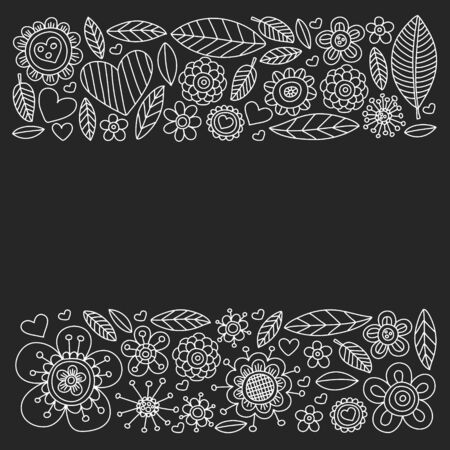 Vector pattern with doodle flowers and leaves Ilustracja