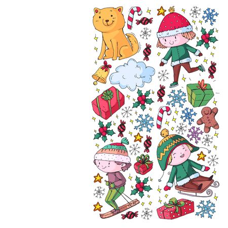 Christmas pattern with little children.