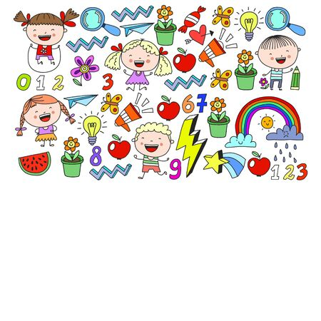 Cute little children play. Kindergarten, education sport