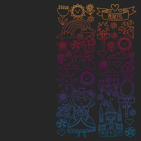 Vector pattern for little girls. Princess illustration for happy birthday party. Blackboard chalk illustration