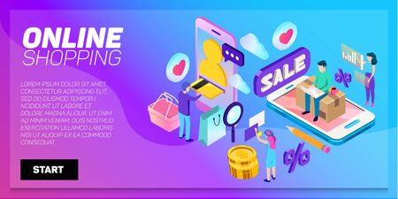 E-commerce, retail, store. Internet marketing. Isometric online shopping and delivery.