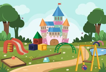 Background with swing, slide, trees and princess castle for little children.