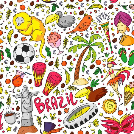 Vector pattern with national symbols. Rio de janeiro Brazil.