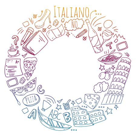 Vector pattern with icons and national symbols of Italy. Italian language learning. 일러스트
