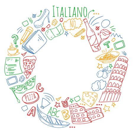 Vector pattern with icons and national symbols of Italy. Italian language learning. Çizim
