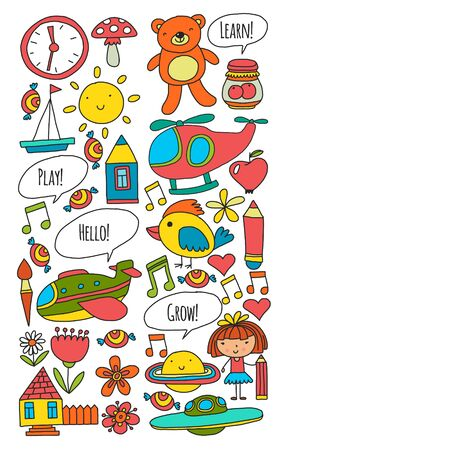 Vector pattern with little children. Kindergarten, play and grow together.